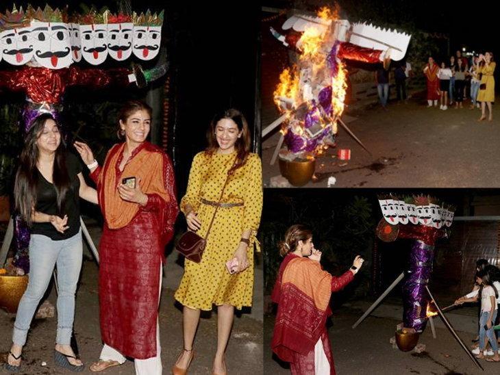 रविना टंडन ने बच्चो के साथ सेलिब्रेट किया रावण दहन